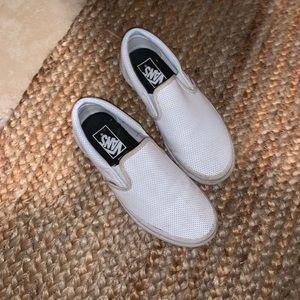 Vans perf leather slip one white sz 7